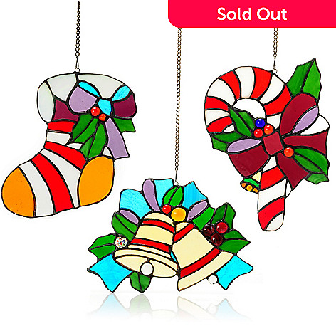 431-859 - Tiffany-Style Set of Three Holiday Stained Glass Window Panels