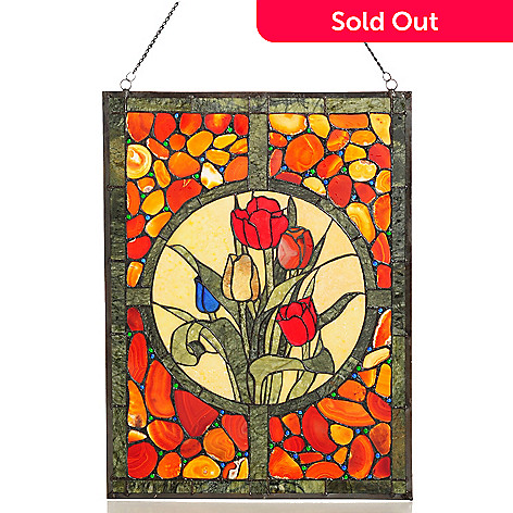 431-874 - Style at Home with Margie 24'' Tulip Agate & Jade Window Panel
