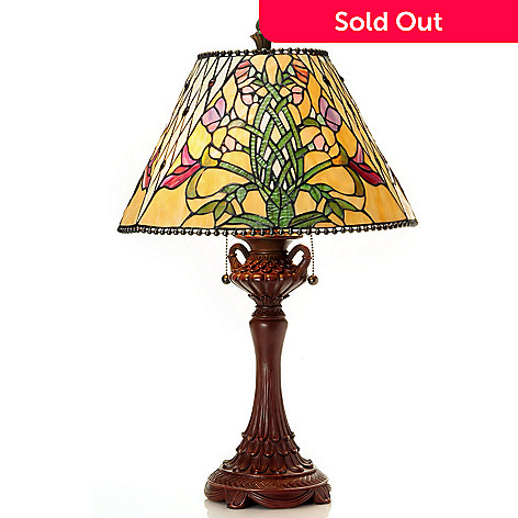 431-909 - Tiffany-Style 26'' Cascading Lily Stained Glass Table Lamp