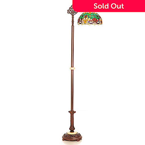 431-910 - Tiffany-Style 67'' Island Retreat Geometrical Stained Glass Floor Lamp