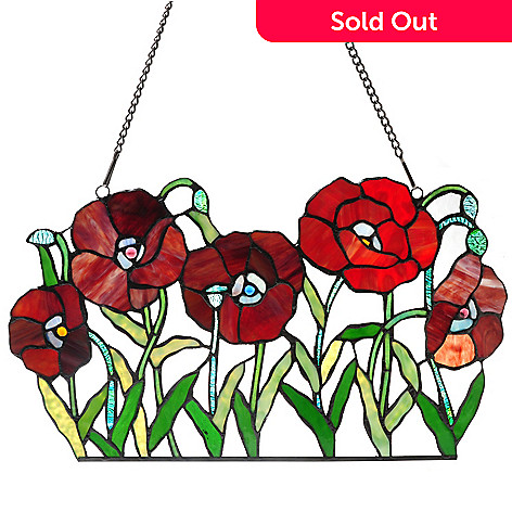 431-914 - Tiffany-Style 21'' Poppies on Parade Floral Stained Glass Window Panel
