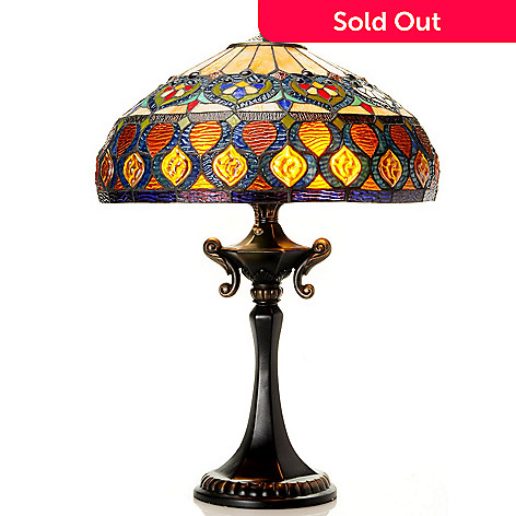 431-917 - Tiffany-Style 25'' Hilda's Harlequin Stained Glass Table Lamp