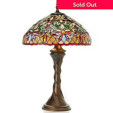 431-919 - Tiffany-Style 28'' Nouveau Riche Stained Glass Table Lamp