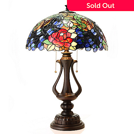 431-920 - Tiffany-Style 27.5'' Peacocks on Parade Stained Glass Table Lamp
