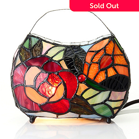 431-921 - Tiffany-Style 7.25'' Louise's Lavish Handbag Stained Glass Accent Lamp
