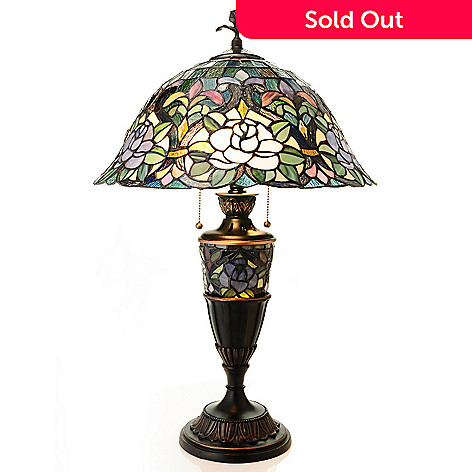431-923 - Tiffany-Style 28'' Escape to Laurelton Double Lit Table Lamp