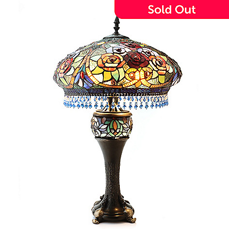 431-924 - Tiffany-Style 30'' Victorian Splendor 3D Rose Double Lit Stained Glass Table Lamp