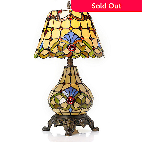 431-926 - Tiffany-Style 20.5'' The Whitney Double Lit Stained Glass Table Lamp
