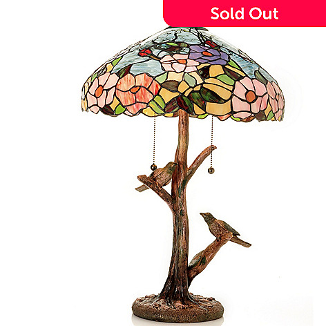 431-927 - Tiffany-Style 24.5'' Sparrow's Mountain Creek Stained Glass Table Lamp