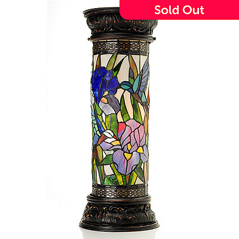431-929 - Tiffany-Style 27'' Splendor in the Grass Stained Glass Pedestal Lamp