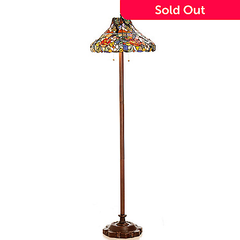 431-930 - Tiffany-Style 64'' Scarlett Rose Garden Stained Glass Floor Lamp