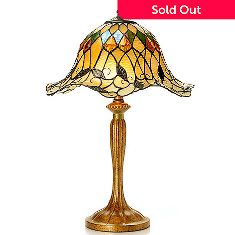 431-934 - Tiffany-Style 23.25'' Corona's Curl Stained Glass Table Lamp