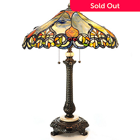 431-938 - Tiffany-Style 28.5'' Woodbridge Sunset Stained Glass Table Lamp