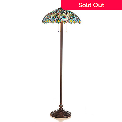 431-940 - Tiffany-Style 66'' Periwinkle Peacock Stained Glass Floor Lamp