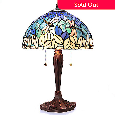 431-943 - Tiffany-Style 21'' Lapis Leaves Dragonfly Stained Glass Table Lamp