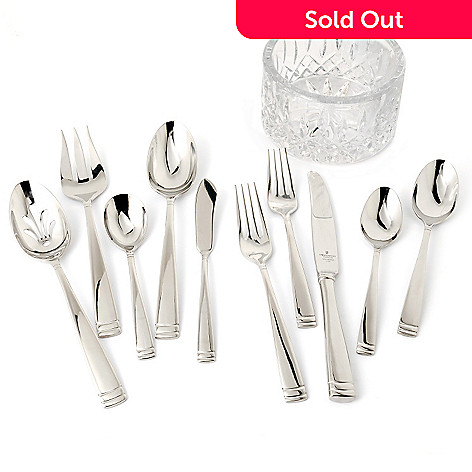 432-007 - Waterford® Crystal 65-Piece Stainless Steel Flatware Set w/ Lismore Coaster