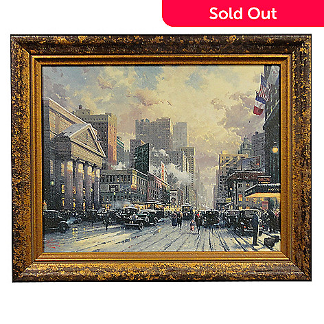432-041 - Thomas Kinkade ''New York, Snow on 7th Ave, 1932'' 20'' x 16'' Framed Textured Print
