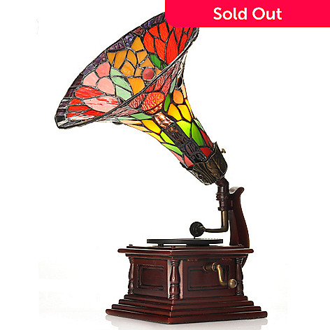 432-061 - Tiffany-Style 15'' Musical Gramophone Antiqued Floral Stained Glass Accent Lamp