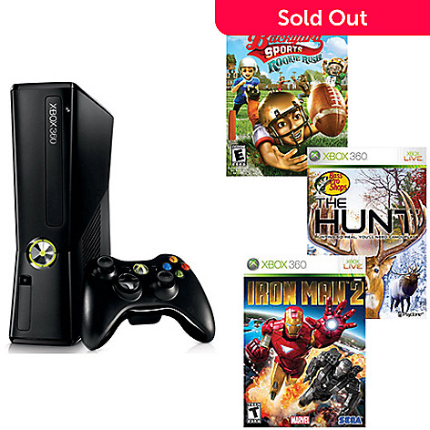 432-156 - Xbox 360 Console w/ Bass Pro Shops: The Hunt, Backyard Sports: Rookie Rush & Iron Man 2