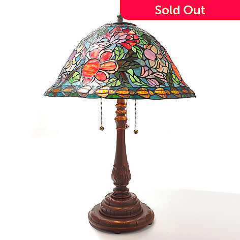 432-165 - Tiffany-Style 27.5'' Hampton Floral Bouquet Stained Glass Table Lamp