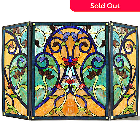 432-167 - Tiffany-Style 27.5'' High Society Geometrical Floral Stained Glass Fireplace Screen