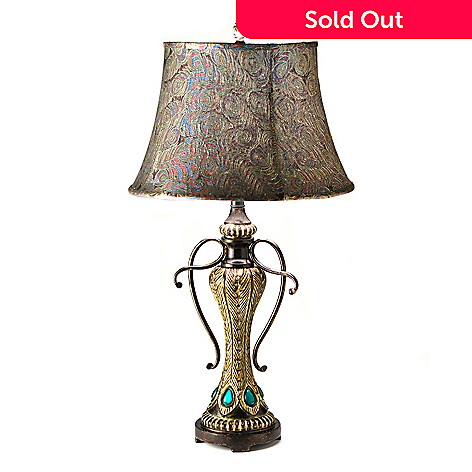 432-168 - 31'' Feathered Peacock Table Lamp