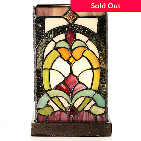 432-169 - Tiffany-Style 8.5'' Art Deco Delight Stained Glass Accent Lamp