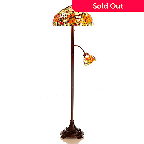 432-177 - Tiffany-Style 62'' A Moment in Paradise Stained Glass Floor Lamp