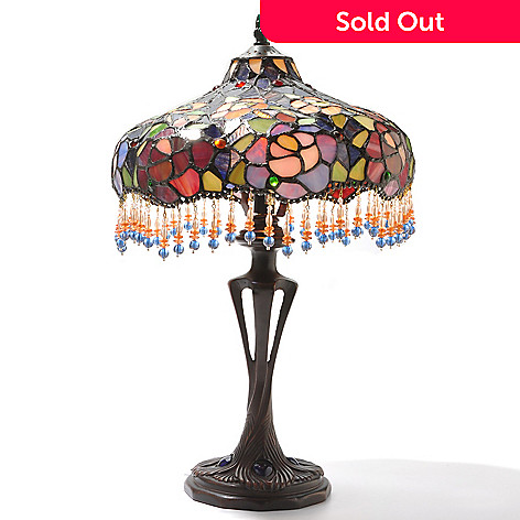 432-179 - Tiffany-Style 19.75'' Blooming Beauty Antiqued Stained Glass Table Lamp