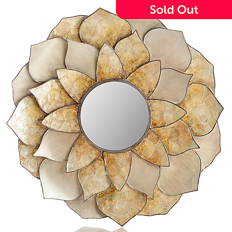 432-180 - Style at Home with Margie 35'' Capiz Dahlia Acrylic Wall Mirror