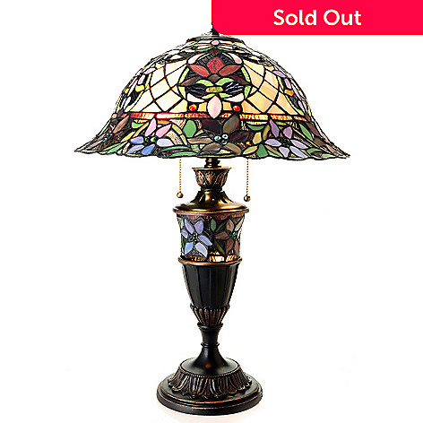 432-183 - Tiffany-Style 26'' Lillith Anne Double Lit Stained Glass Table Lamp