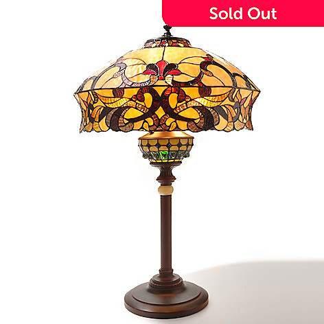 432-185 - Tiffany-Style 33'' The Majesty of Vanderbilt Double Lit Stained Glass Table Lamp