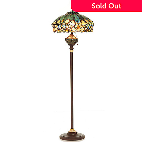 432-187 - Tiffany-Style 62.25'' Summer's Sunset Stained Glass Double Lit Floor Lamp