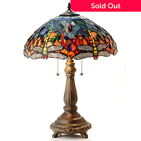 432-190 - Tiffany-Style 23.5'' The Azure Blue Stained Glass Table Lamp