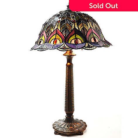 432-191 - Tiffany-Style 23.5'' The Bronzed Peacock Stained Glass Table Lamp