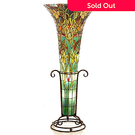 432-192 - Tiffany-Style 45'' The Harvest of Dreams Stained Glass Vase Floor Lamp
