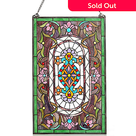 432-193 - Tiffany-Style 27'' Georgian Estate Stained Glass Window Panel