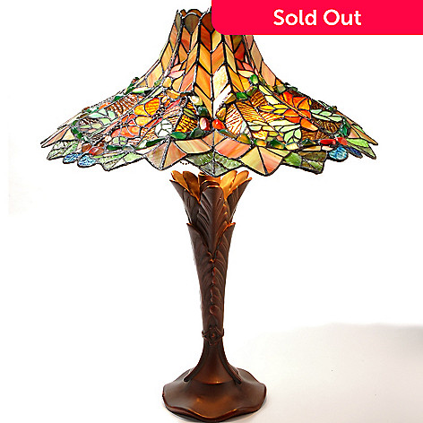 432-194 - Tiffany-Style 24.75'' Greenhouse Bouquet Stained Glass Table Lamp