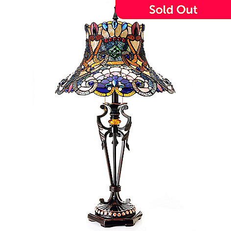 432-196 - Tiffany-Style 32'' The Boulderdash Whimsical Stained Glass Table Lamp