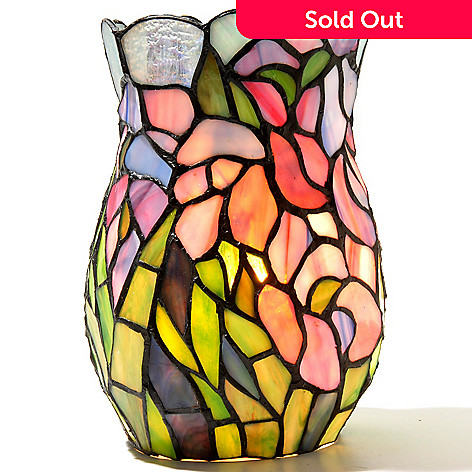 432-199 - Tiffany-Style 8'' The Elegant Iris Stained Glass Vase Lamp