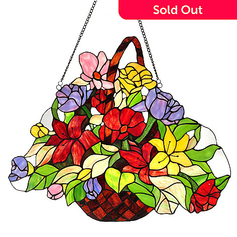 432-200 - Tiffany-Style 20'' Day Lily Delight Flower Basket Stained Glass Window Panel