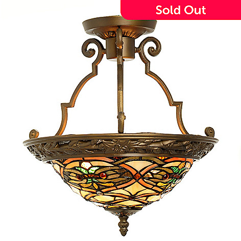 432-202 - Tiffany-Style 14.5'' Newport Stained Glass Ceiling Lamp