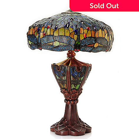 432-204 - Tiffany-Style 27'' Double Lit Dragonfly Stained Glass Table Lamp