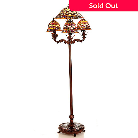 432-205 - Tiffany-Style 63'' Claret Amber Four-Shaded Stained Glass Floor Lamp