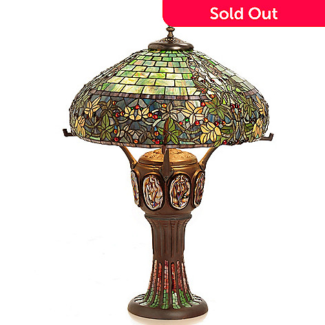 432-206 - Tiffany-Style 34'' The Grand Hampstead Double Lit Stained Glass Table Lamp