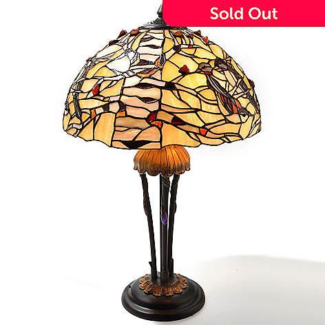 432-208 - Tiffany-Style 25.75'' The Jeweled Nest Stained Glass Table Lamp