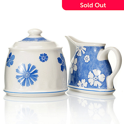 432-293 - Villeroy & Boch Farmhouse Touch Blueflowers Creamer & Covered Sugar Dish Set
