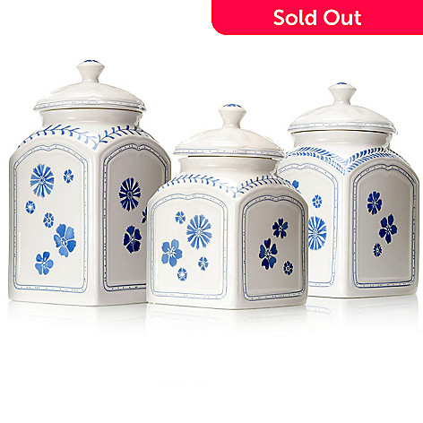 432-301 - Villeroy & Boch Farmhouse Touch Blueflowers Set of Three Canisters