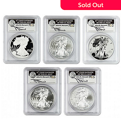 432-305 - 2011 Silver American Eagle MSPF-69 Set-of-Five Silver Dollar Coins