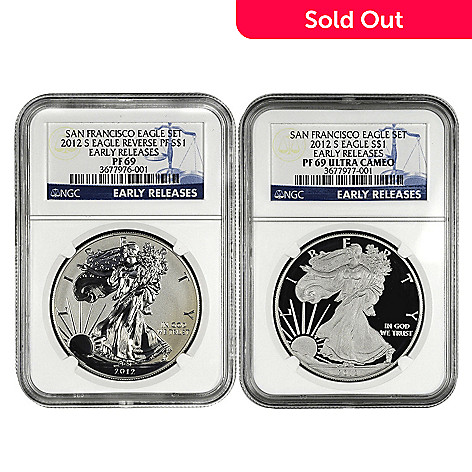 432-413 - 2012 Silver American Eagle PR69 Early Release NGC Set of Two Silver Dollar Coins